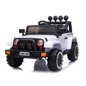 Masinuta electrica Jeep BRD-7588 90W 12V cu Scaun Tapitat #Alb0