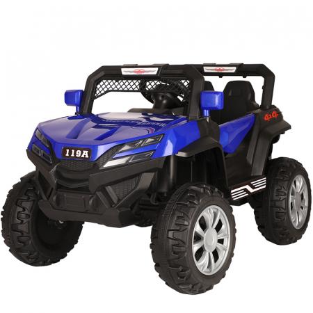 Masinuta electrica 4x4 Kinderauto BJF119A 120W 12V cu Scaun TAPITAT #Albastru [0]
