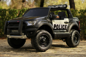 Masinuta electrica Ford Ranger POLICE 90W cu Scaun TAPITAT #Negru1