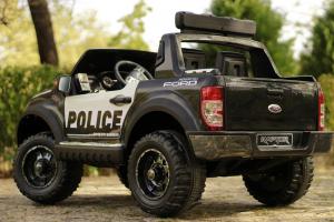 Masinuta electrica Ford Ranger POLICE 90W cu Scaun TAPITAT #Negru14