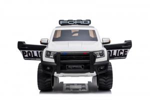 Masinuta electrica Ford Ranger POLICE 90W cu Scaun TAPITAT #Alb1