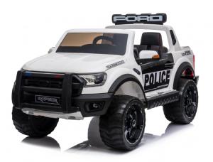 Masinuta electrica Ford Ranger POLICE 90W cu Scaun TAPITAT #Alb0