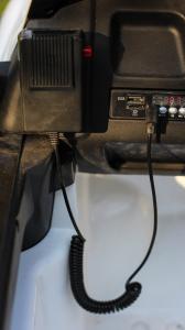 Masinuta electrica Ford Ranger POLICE 90W cu Scaun TAPITAT #Alb4