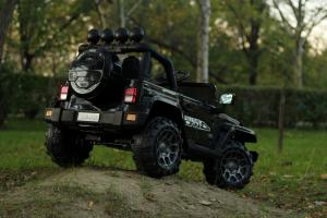 Masinuta electrica Jeep BRD-7588 90W 12V cu Scaun Tapitat #Negru10