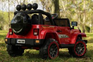 Masinuta electrica Jeep BRD-7588 90W 12V cu Scaun Tapitat #Rosu3