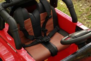 Masinuta electrica Jeep BRD-7588 90W 12V cu Scaun Tapitat #Rosu12