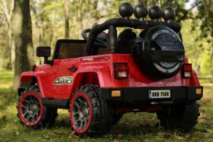 Masinuta electrica Jeep BRD-7588 90W 12V cu Scaun Tapitat #Rosu4