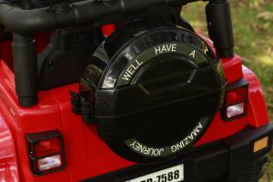 Masinuta electrica Jeep BRD-7588 90W 12V cu Scaun Tapitat #Rosu10