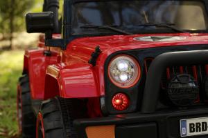 Masinuta electrica Jeep BRD-7588 90W 12V cu Scaun Tapitat #Rosu15