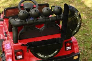Masinuta electrica Jeep BRD-7588 90W 12V cu Scaun Tapitat #Rosu11