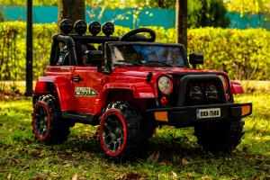 Masinuta electrica Jeep BRD-7588 90W 12V cu Scaun Tapitat #Rosu1