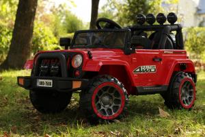 Masinuta electrica Jeep BRD-7588 90W 12V cu Scaun Tapitat #Rosu2