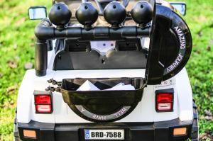 Masinuta electrica Jeep BRD-7588 90W 12V cu Scaun Tapitat #Alb12