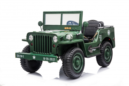 Masinuta electrica Jeep USA ARMY 4X4 180W PREMIUM #Verde [0]