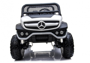 Masinuta electrica Mercedes UNIMOG 4x4 PREMIUM #Alb1