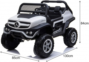Masinuta electrica Mercedes UNIMOG 4x4 PREMIUM #Alb17