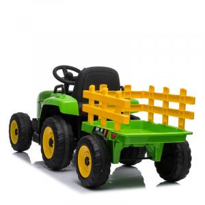 Tractoras electric BJ-611 cu remorca si telecomanda STANDARD #Verde2