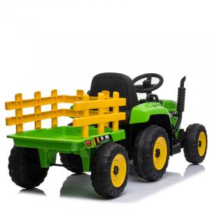 Tractoras electric BJ-611 cu remorca si telecomanda STANDARD #Verde1