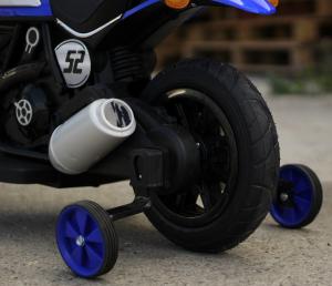 Motocicleta electrica pentru copii BT307 2x20W CU ROTI Gonflabile #Albastru7