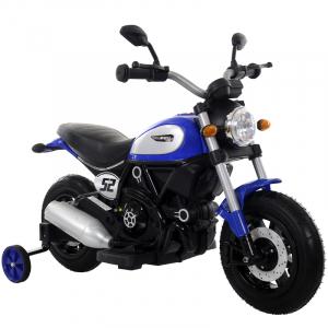 Motocicleta electrica pentru copii BT307 2x20W CU ROTI Gonflabile #Albastru0