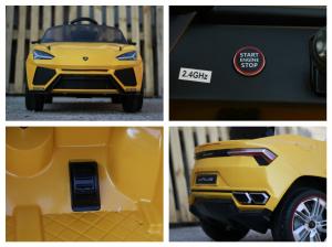Masinuta electrica Lamborghini Urus CU SCAUN TAPITAT 12V #Galben8