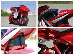 Mini Motocicleta electrica pentru copii NITRO Eco Pocket Bike 1000W #Rosu8