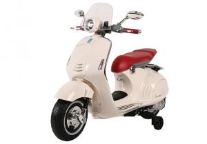 Scuter electric pentru copii Vespa GTS300 cu scaun tapitat #Alb0