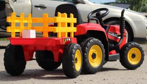 Tractoras electric BJ-611 cu remorca si telecomanda STANDARD #Rosu8