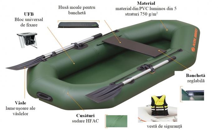 Barca Pneumatica KOLIBRI K-190 + podină pliabilă semirigidă 8