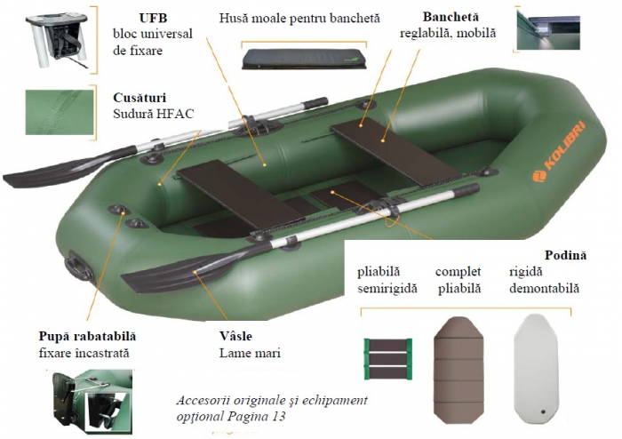 Barca Pneumatica KOLIBRI K-290T + podină pliabilă semirigidă 6