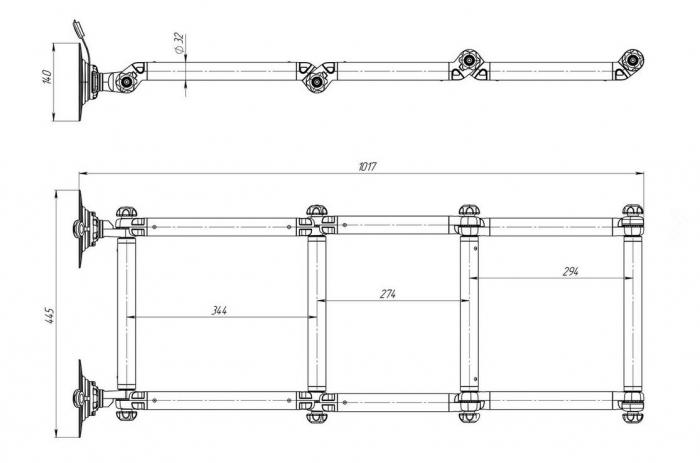 Scara aluminiu pliabila pentru barcă gonflabila FASTen BORIKA FLp032 + set Fmp225 [3]