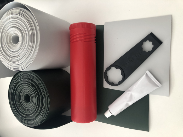 Set reparatii: adeziv + material PVC + tub + cheie 0