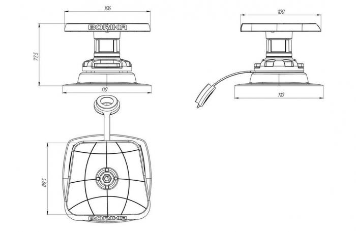 Suport sonar set cu baza (Sl223 + FMp224) FASTen BORIKA SLp 223 100 * 100 mm [4]