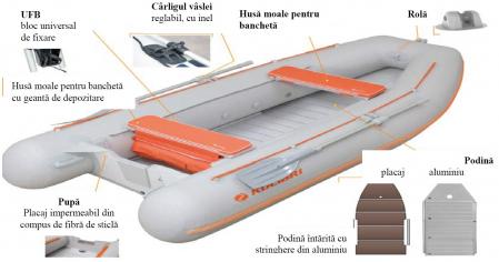 Barca KM-245D + podină Tego8