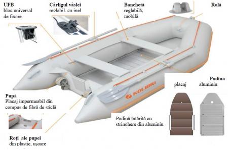 Barca KM-360D + podina regidă tego, întarită cu profil de aluminiu6