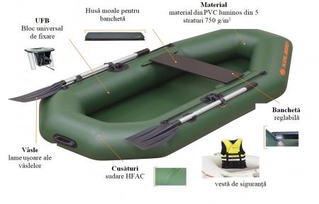 Barca K-190 + podină pliabilă semirigidă8