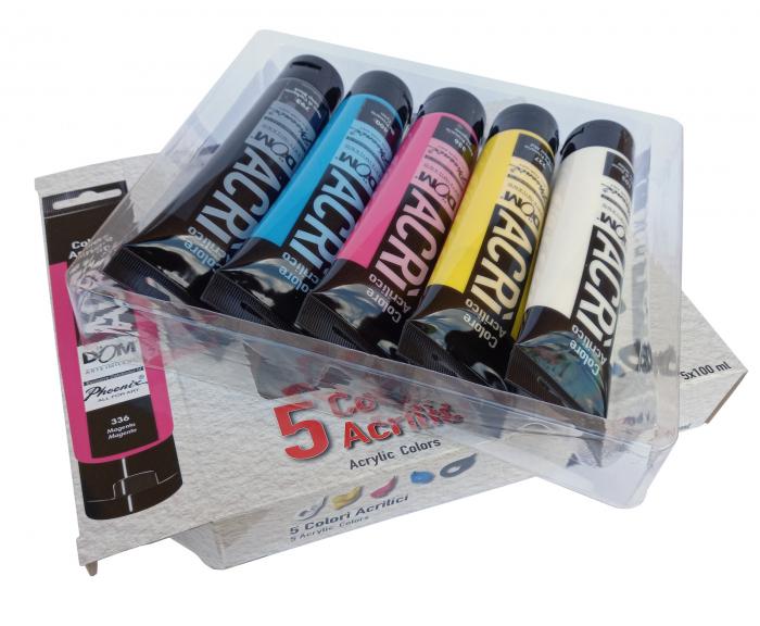 Set de vopsea acrilică în 5 culori în tuburi de 100 ml [2]