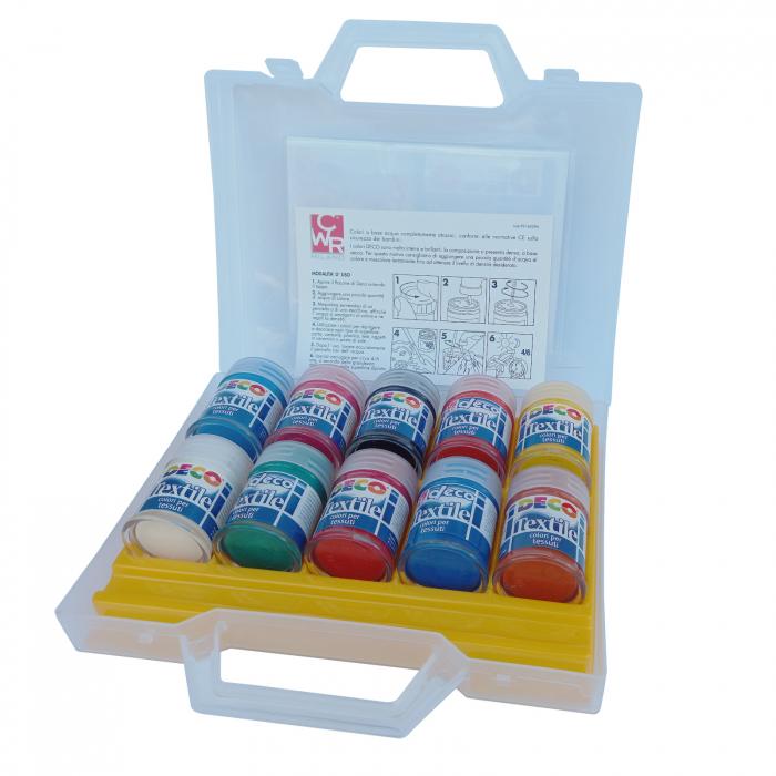 Set de 10 flacoane cu vopsea pentru material textil [1]
