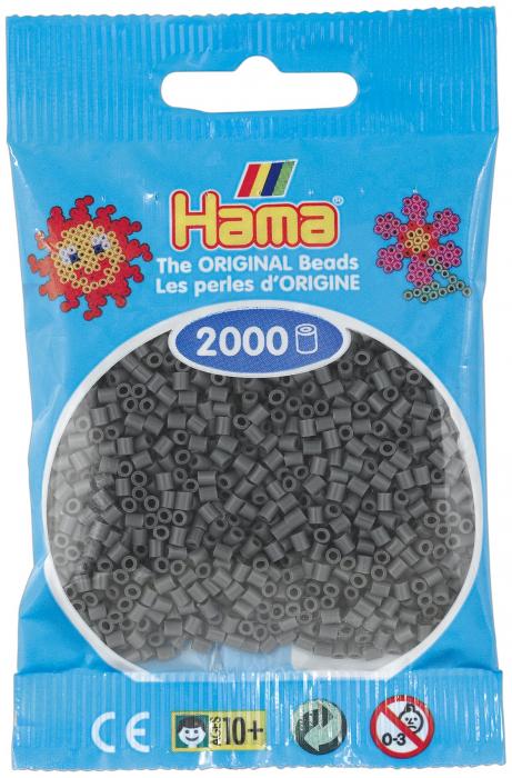 2000 mărgele Hama MINI în punguliță - gri închis [0]
