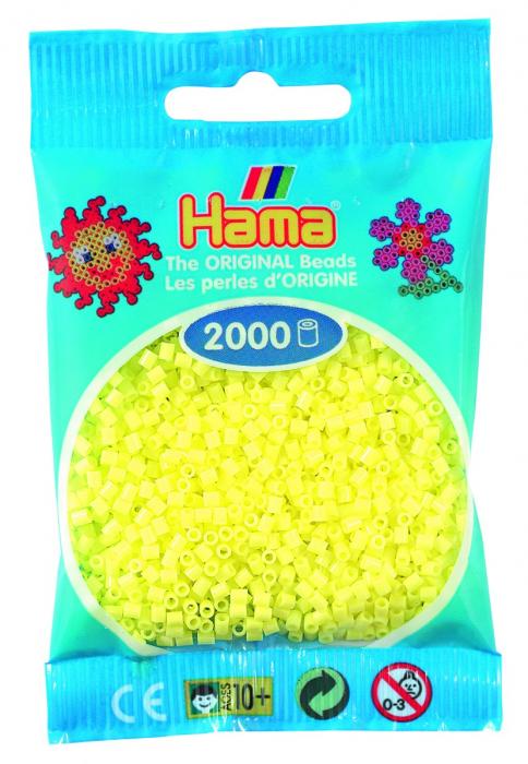 2000 mărgele Hama MINI în punguliță - galben pastel [0]