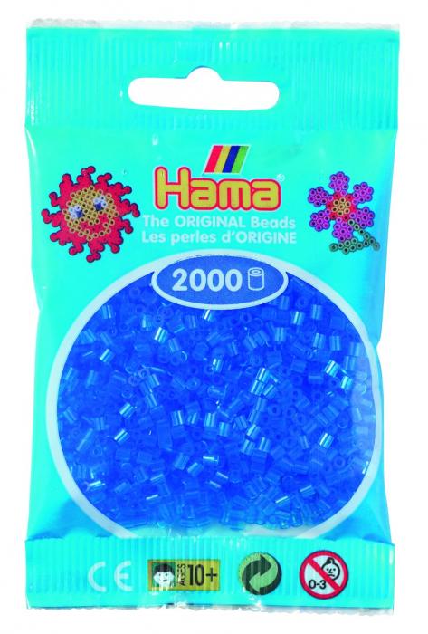 2000 mărgele Hama MINI în punguliță - albastru transparent [0]