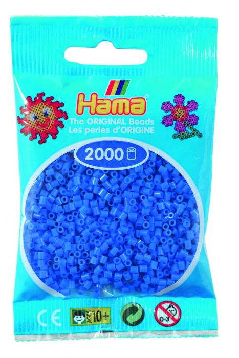 2000 mărgele Hama MINI în punguliță - albastru deschis [0]