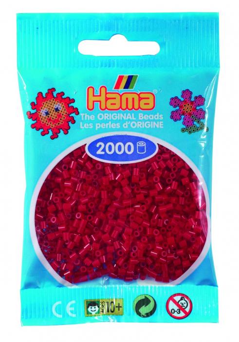 2000 mărgele Hama MINI în punguliță - roșu închis [0]