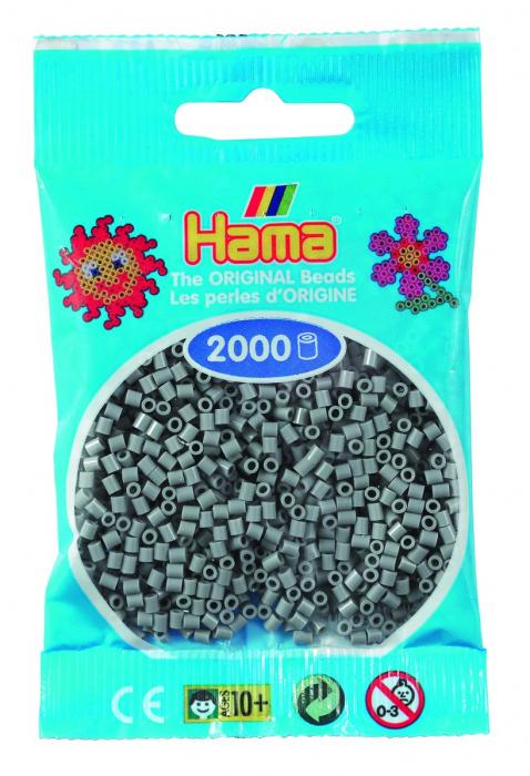 2000 mărgele Hama MINI în punguliță - gri [0]