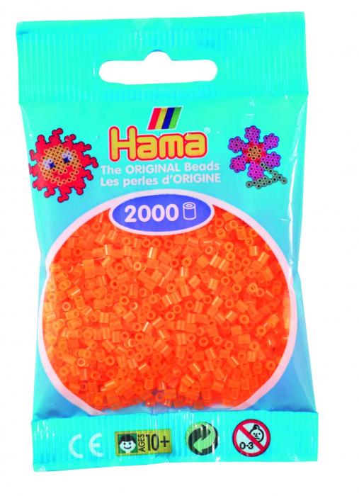 2000 mărgele Hama MINI în punguliță - portocaliu neon [0]