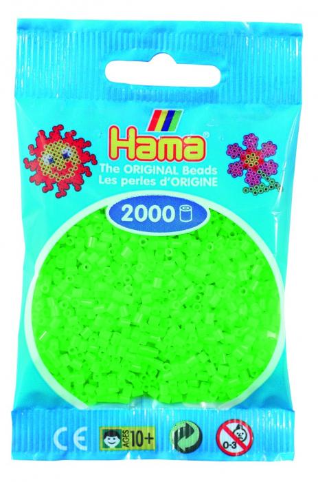 2000 mărgele Hama MINI în punguliță - verde fluorescent [0]