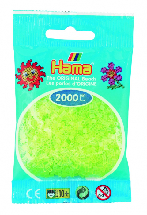 2000 mărgele Hama MINI în punguliță - galben neon [0]