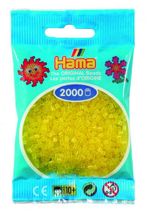 2000 mărgele Hama MINI în punguliță - galben transparent [0]