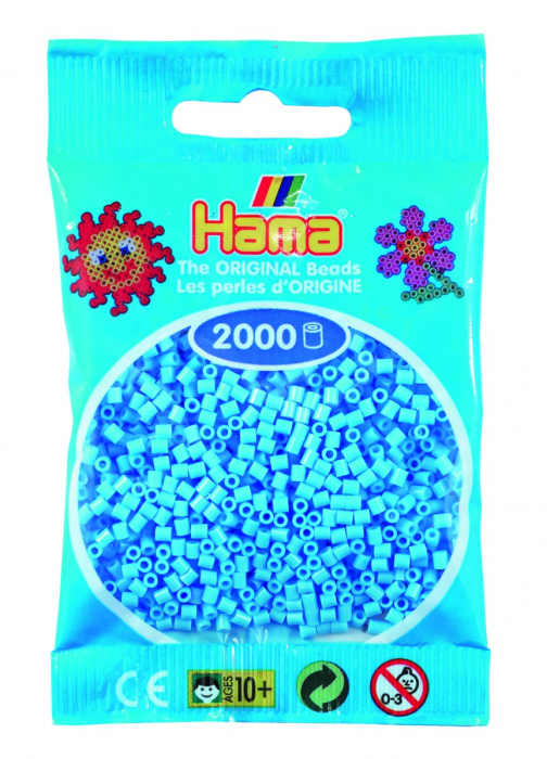 2000 mărgele Hama MINI în punguliță - albastru pastel [0]