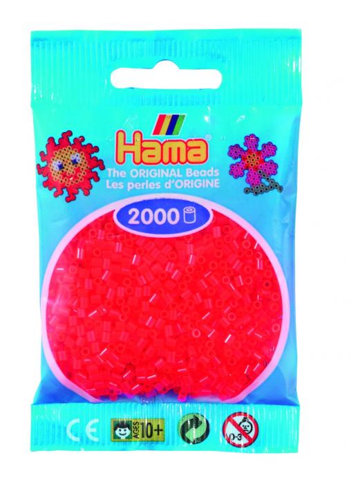 2000 mărgele Hama MINI în punguliță - roșu neon [0]
